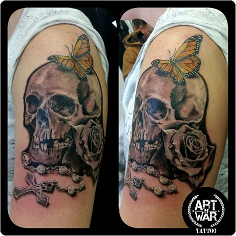 skull by chrys art of war tattoo