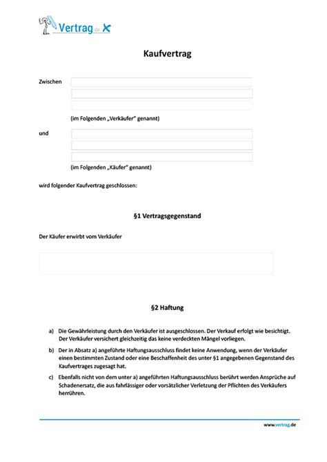 Kaufvertrag Auto Beispiel by Kaufvertrag Vorlage Kaufvertrag Muster