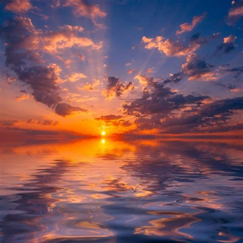 wallpaper sunset clouds sky horizon reflection