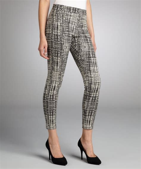 grey patterned pants waverly grey black and white window pane patterned side