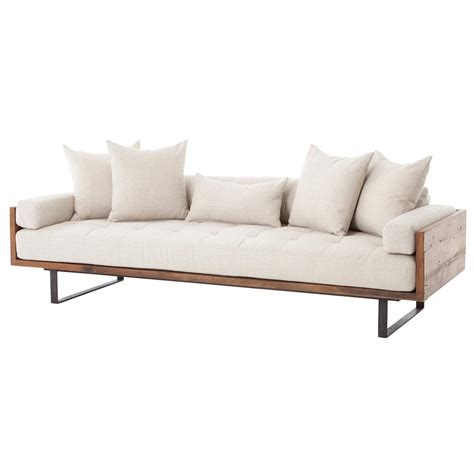 Wooden Modern Sofa Lloyd Rustic Loft Linen Exposed Wood Sofa Kathy Kuo Home