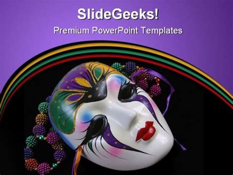 mardi gras powerpoint template mask festival powerpoint background and template