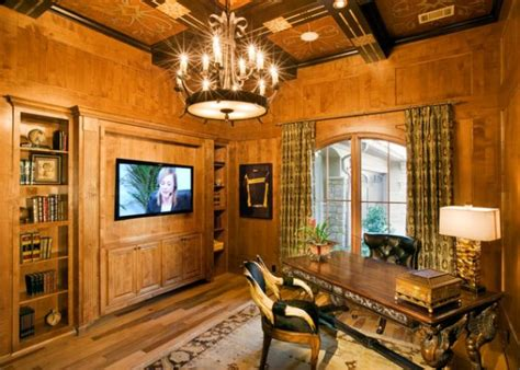 wood home interiors wood paneling adds elegance and warmth to your home office