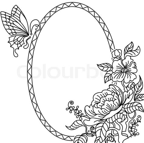 frame design drawing peony and butterfly frame bw stock vector colourbox