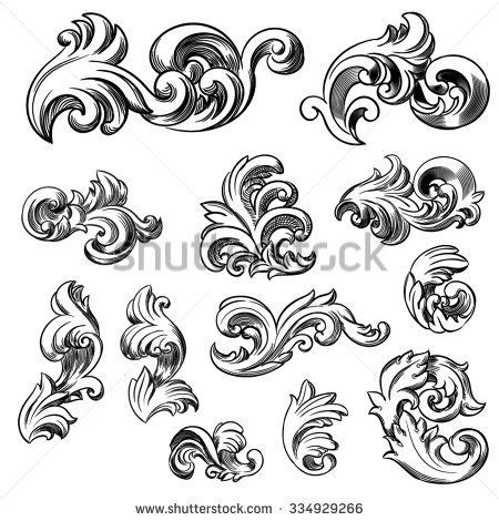 baroque pattern history set of vector vintage baroque engraving floral scroll
