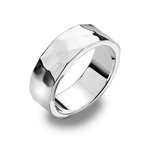 Silver Rings by Hammered Flat Silver Band Ring Silver Rings Silver By Mail