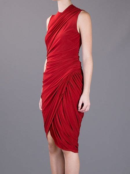 red draped dress alexander wang asymmetric draped dress in red lyst