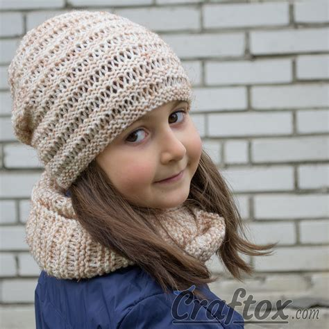 knit cowl pattern beginner hat and cowl set quot kari quot knitting pattern for beginners