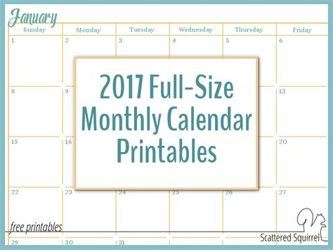 2017 Monthly Calendar Pages 2017 Size Monthly Calendar Printables Are Here