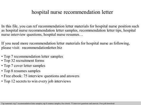 Recommendation Letter From Employer For Nurses Hospital Recommendation Letter
