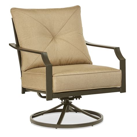 Patio Chairs And Tables Shop Garden Treasures Vinehaven 2 Count Brown Steel Swivel Rocker Patio Conversation Chairs With