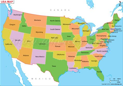 america map showing countries us map or map of united states of america shows 50 usa