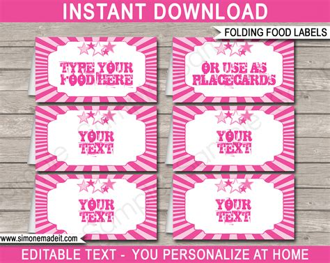 celebrate it printable place cards template rockstar food labels place cards rock theme