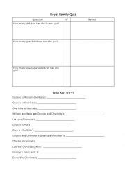 printable quiz about the royal family english worksheets royal family quiz