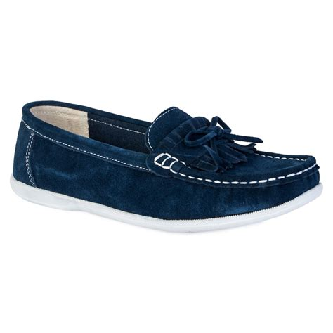 new womens navy blue faux suede flat moccasins
