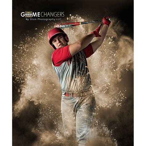 Powder Explosion Photoshop Template Game Changers By Shirk Photography Llc Baseball Photo Templates Photoshop