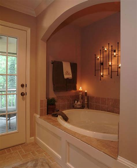 master suite bathroom ideas i like the idea of the enclosed tub looks warm cozy