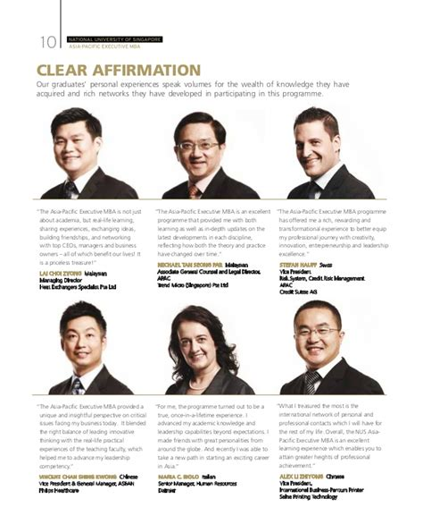 Nus Time Mba Duration by Nus Asia Pacific Executive Mba Brochure
