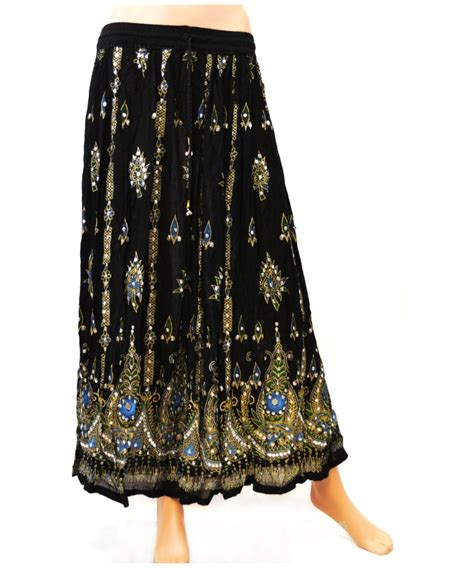 sequin embellished ankle length s skirt