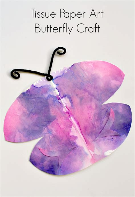 How To Make A Butterfly With Tissue Paper - tissue paper symmetry butterfly craft fantastic