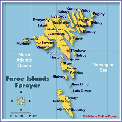 faroe islands map map of the faroe islands nations project