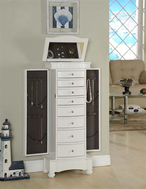 White Jewelry Armoires by Nathan Direct Muscat White Jewelry Armoire J1016arm L W