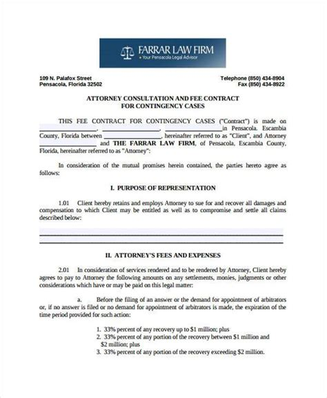Sle Fee Agreement Letter Attorney contingency fee agreement template 28 images 96