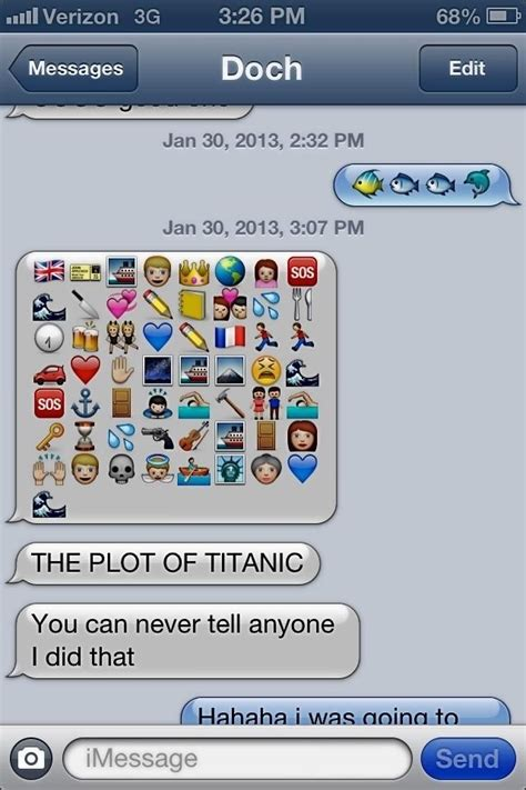 film plots in emoji titanic retold in emojis tomfoolery pinterest movie