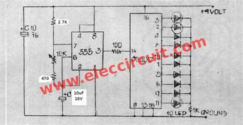 layout pcb running led led chaser circuit by ic 4017 ic 555 eleccircuit com