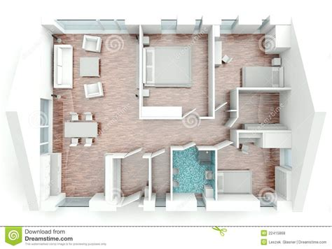 House 3d Model Free Download 3d Rendering House Plan Stock Illustration Image Of