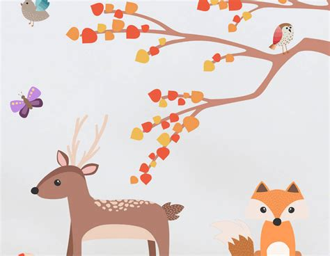 childrens animal wall stickers children s woodland animal and tree wall sticker set