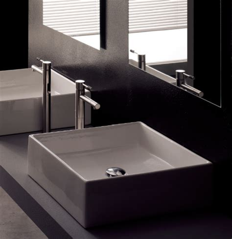 modern square white ceramic bathroom vessel sink modern