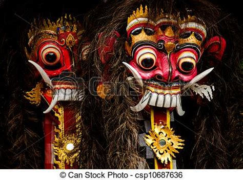 stock photos of balinese masks a closeup of colorful