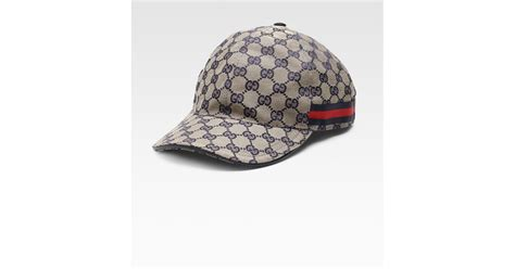 gucci canvas baseball hat in blue for lyst