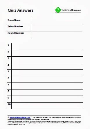 printable pub quiz answer sheet blank answer sheets for a table or pub quiz trivia night
