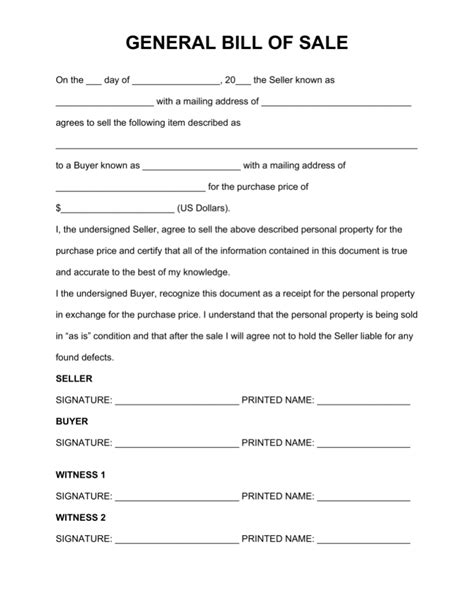 bill of sale form printable bill of sale form templates calendar template