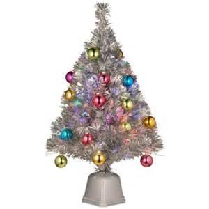 32 quot pre lit silver tinsel fiber optic artificial christmas