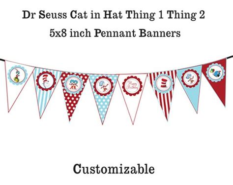 printable one banner dr seuss cat in the hat thing 1 thing 2 printable banner