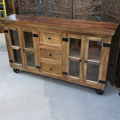 buffets with glass doors industrial buffet with glass doors and metal accents