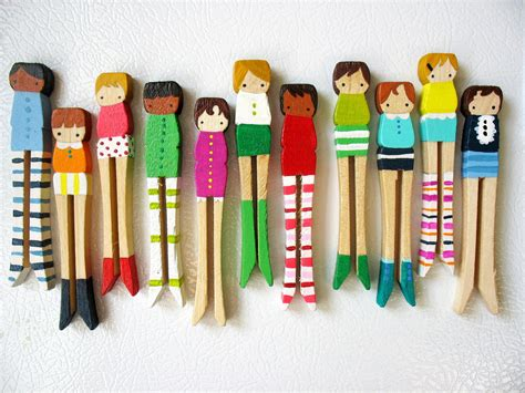 Project 3 Diane Clothespin by Handmade Wooden Folk Magnets For Sale At Mooshoo