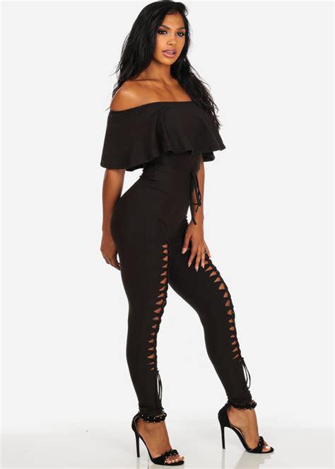 Shoulder Sleeve Jumpsuit black shoulder sleeve jumpsuit