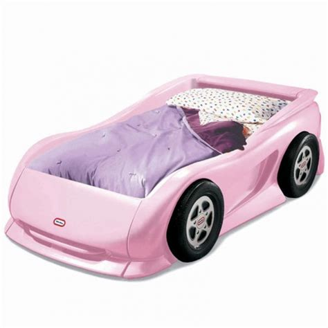 pink twin sports car bed for kids little tikes little