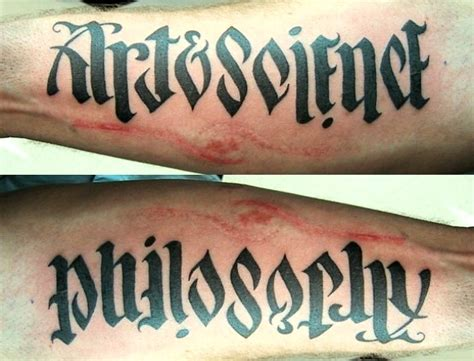 tattoo lettering reads both ways top 10 optical illusion tattoos