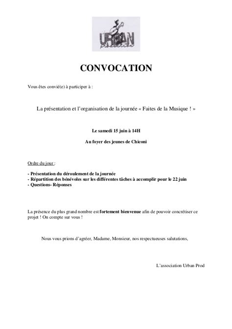 Lettre De Non Presentation Convocation convocation r 233 union