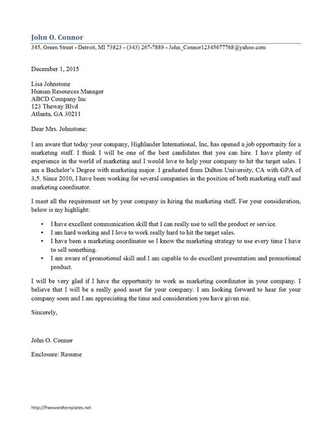 cover letter for staff free microsoft word templates