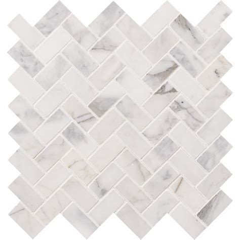 msi calacatta cressa herringbone 12 in x 12 in x 10 mm honed marble mesh mounted mosaic tile