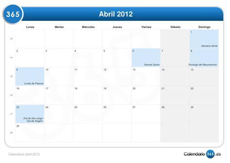 Calendario Abril 2012 Calendario Abril 2012