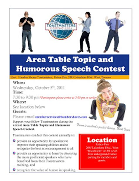 Humorous Speech Sles Toastmasters humber shores toastmasters area contest table topics and