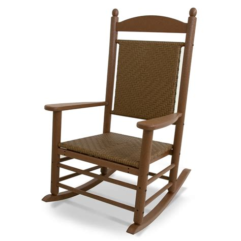Outdoor Patio Rocking Chairs Shop Polywood Jefferson Teak Tigerwood Plastic Patio Rocking Chair At Lowes
