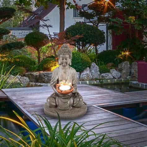 asia garten deko feng shui skulptur leuchte asia solar budha figur le